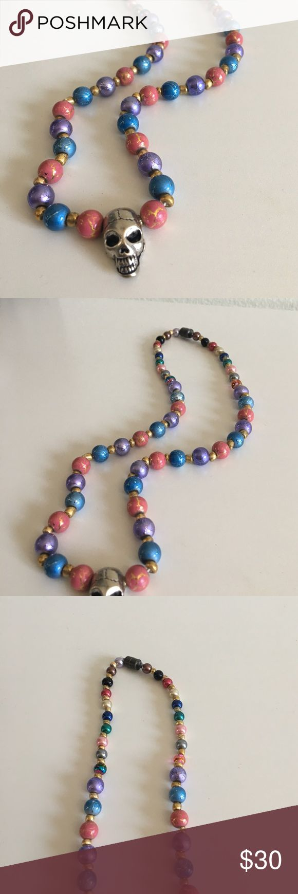 • Skull Island Pretty Punk Pendant Necklace • Handmade with love Jewelry!  beautiful beads🌸💕✈️ Magnetic closure for easy wear! ⭐️Bundles are 15% off⭐️ Please feel free to ask any questions or submit an offer ❤ Jewelry Necklaces