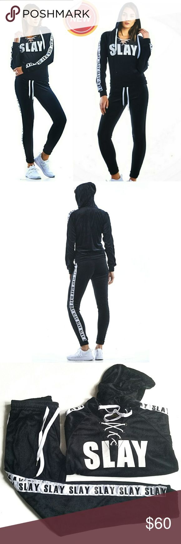 Slay Jogging Suit 2 pc Velour jogging suit. Available in both Black and Pink  *Lace Up Hoody with Slay along both arms. Front kangaroo pocket. *Pants have elastic, drawstring waist and banded ankle. Slay goes down the side of each leg.  Sold as a set Only, cannot mix top/bottom sizes  Tantalyzn Apparel is now available in the Wholesale Portal  Bundle and Save More Pants Track Pants & Joggers