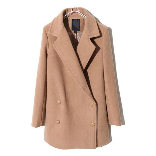 Retro Double Breasted Coat In Khaki And Loose Fit ($113) ❤ liked on Polyvore