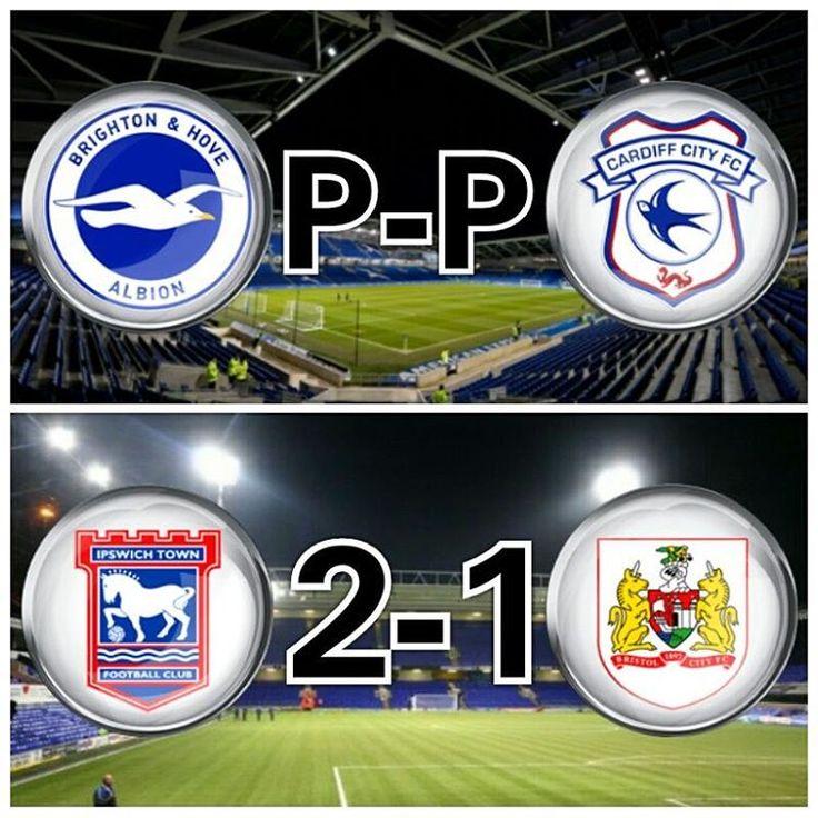 Brighton & Hove Albion P-P Cardiff City. The game was postponed due to heavy fog.  Ipswich Town 2-1 Bristol City.  Ipswich:- Bru (39'), Pitman (86'); Bristol C:- Abraham (52'). Attendance:- 15,640.  #BrightonAndHoveAlbion #CardiffCity #IpswichTown #BristolCity #SkyBetChampionship