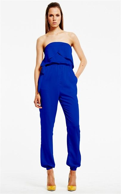 Ozsale - Blue Ambition Ruffle Tube Jumpsuit by Shilla. Price was $129 and is now only $40.