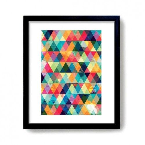 Multicoloured Geometic Triangle Pattern Art Print by AbGorgeous