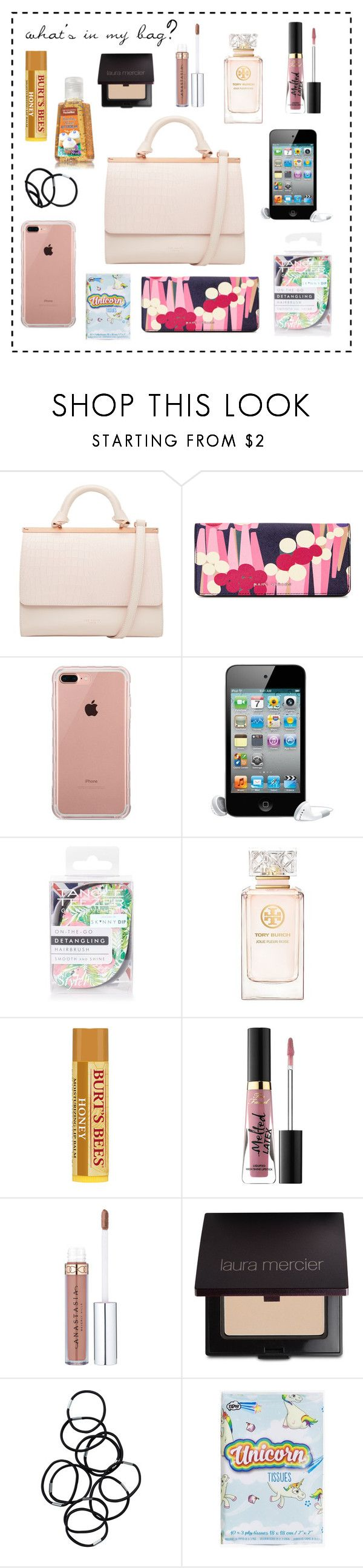 """WHAT'S INSIDE MY BAG"" by taliafzl ❤ liked on Polyvore featuring beauty, Ted Baker, Marc Jacobs, Belkin, Topshop, Tory Burch, Too Faced Cosmetics, Laura Mercier, Monki and Boohoo"
