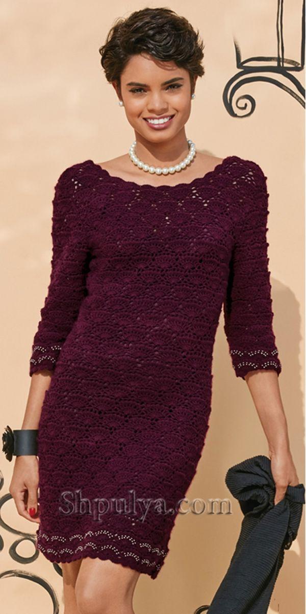 Ажурное платье с декольте крючком