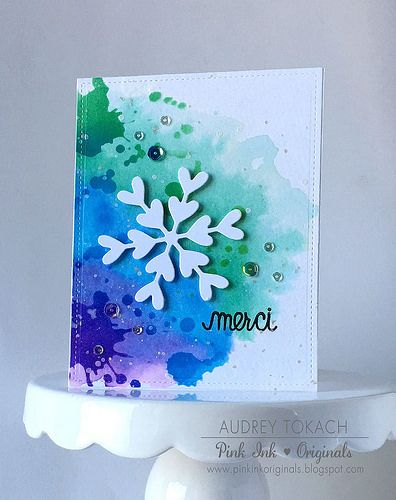 Watercolour a bg and then stencil a few details in the same distress colours over the top! COOL-est Card Series 2016 -