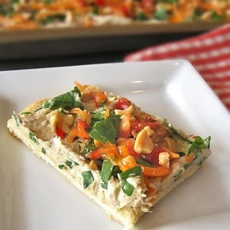 Chinese-Style Chicken  Pizza Appetizer