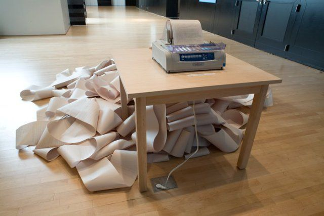 Hans Haacke, News, 1969/2008; installation; RSS newsfeed, paper, and printer, dimensions variable;