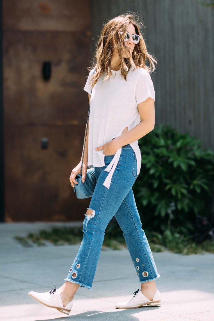 Erin Elizabeth Style by the People at Platform Culver City wearing Storets Eyelet Bootcut denim, Freda Salvador white oxfords, All Saints t-shirt, Zara Jacket talking about top 5 statement denim