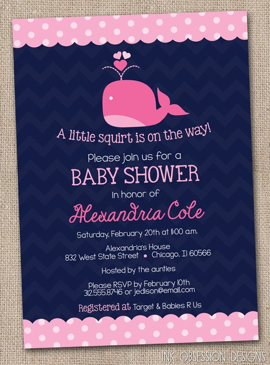 Navy Blue and Pink Whale Baby Shower Invitation - I would change the whale to a cuter one! This one looks sad.