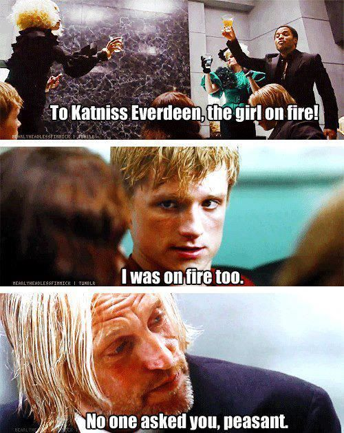 "IKR throughout the whole book it be like Katniss Everdeen deh girl on fire but Peeta be like, ""ummmm"