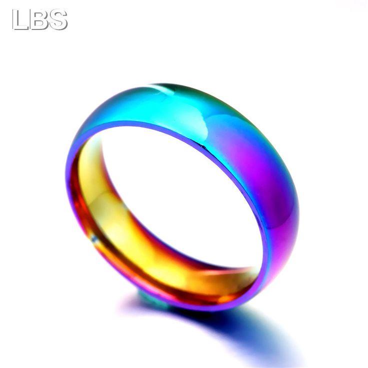 Мужчины Женщины Радуга Красочные Кольца Titanium Стали Обручальное Кольцо Ширина 2 мм 4 мм 6 мм 8 мм Размер 5 13 Подарок купить на AliExpress