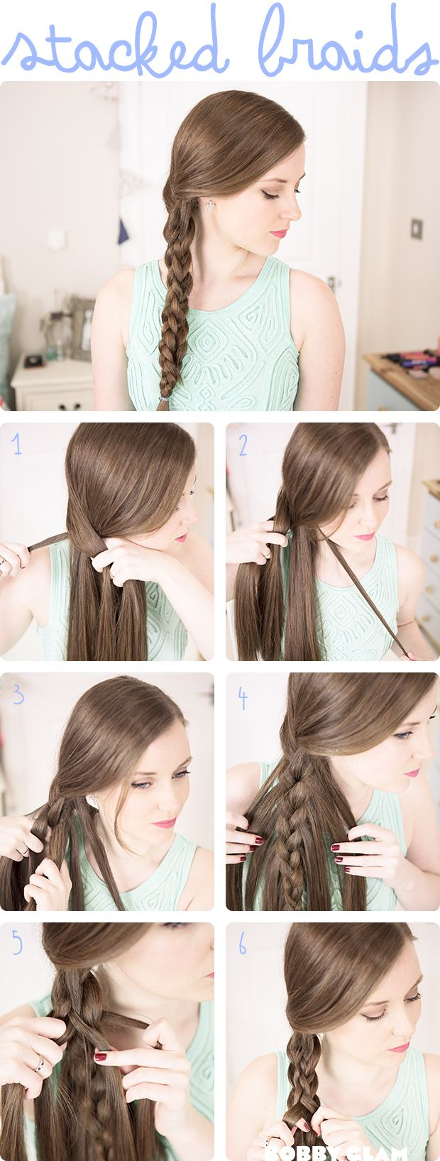 Stacked braids tutorial. I have been loving this look lately.