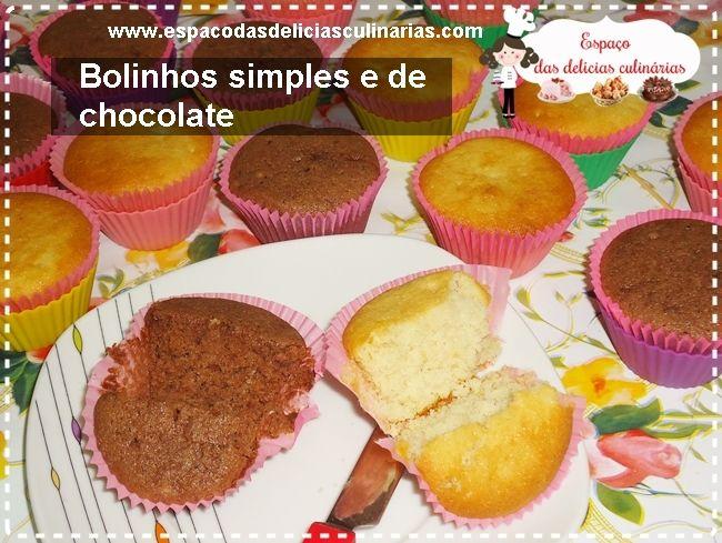 Bolinhos simples,   com massa branca e de chocolate      Ingredientes: 3 ovos 3 colheres de sopa de margarina 1 e 1/2 copo de açúcar (copo de 250 ml) 2 copos de farinha de trigo 2 colheres de sopa de leite em pó (usei integral instantâneo)  1 copo de água 1 colher de sopa (rasa) de fermento em pó Forminhas de papel para cupcake (reserve) Forminhas de silicone ou de metal para cupcake (reserve) Assadeira (reserve) 2 colheres de sopa de chocolate em pó (usei 50% cacau)