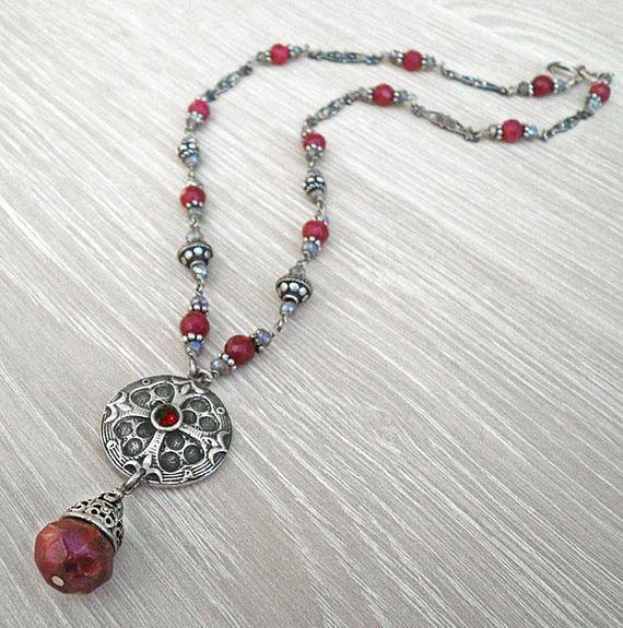 Ruby silver necklaceGothic necklacebeaded silver