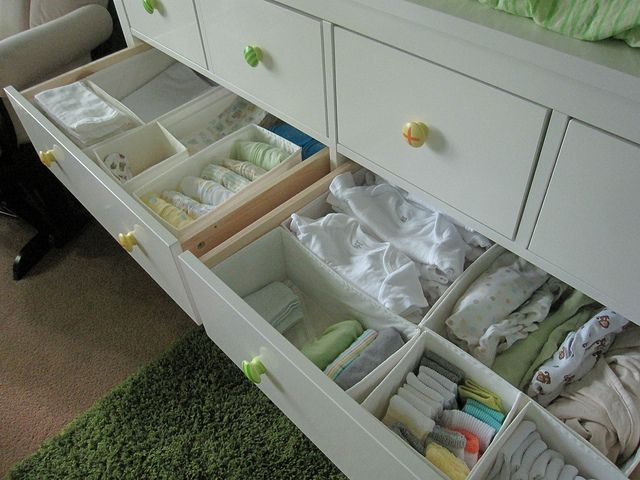 Skubb boxes from Ikea for drawer organization. I have these in my room and will def get some for the baby room