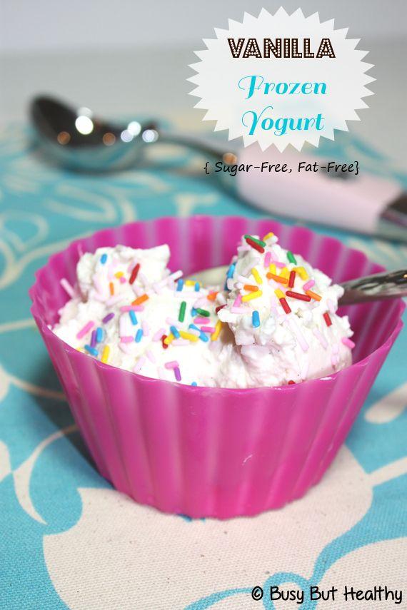 Vanilla Frozen Yogurt {Sugar-Free, Fat-Free, High Protein}  | BusyButHealthy.com