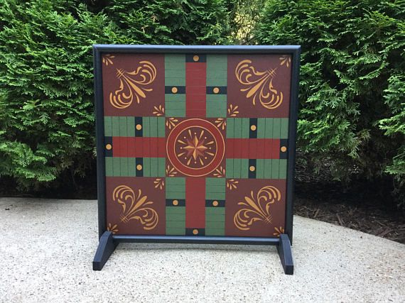 19 Parcheesi Primitive  Wood Game Board Game