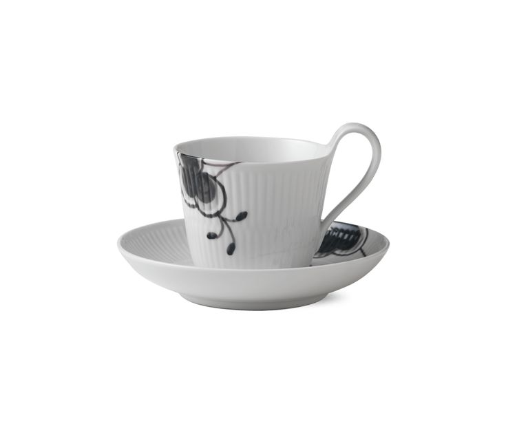 Black Fluted Mega High handle cup and saucer