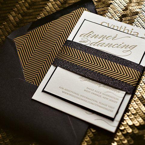 CYNTHIA Suite Art Deco Package, Great Gatsby Wedding Invitations, letterpress wedding invitations, black and gold wedding
