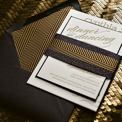 CYNTHIA Suite Art Deco Package, Great Gatsby Wedding Invitations, letterpress wedding invitations, black and gold wedding