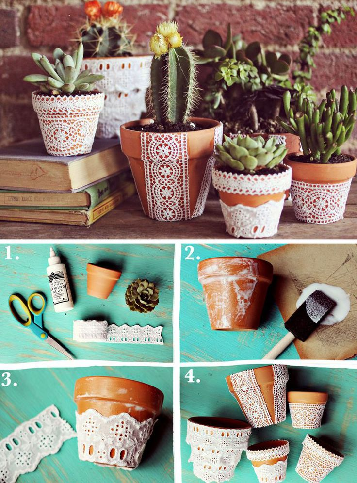DIY lace flower pots; I can't wait to have a patio worth decorating.