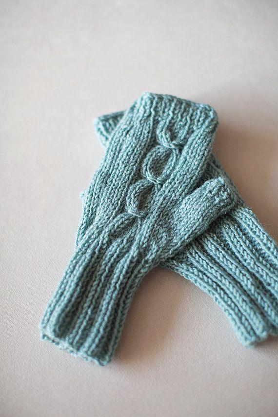 Knit Gloves, Blue Gloves, Fingerless Gloves,