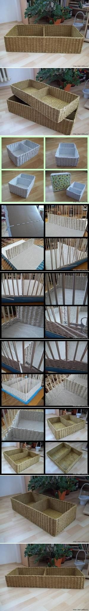 DIY Newspaper Basket with Compartments by sweet.dreams