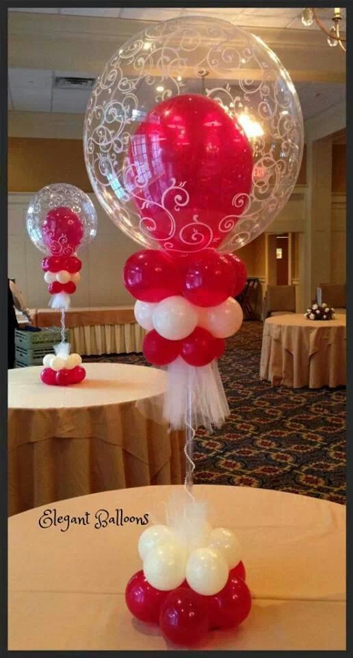 Centerpiece balloon red and white decor 186