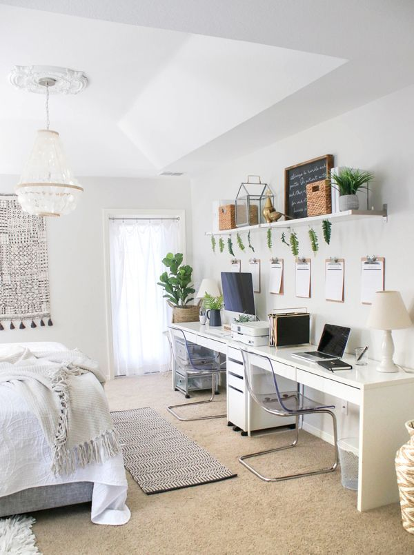 Home Office In Bedroom Setup Ikea Furniture And Green Plants Home Office Bedroom Bedroom Setup Bedroom Office Combo