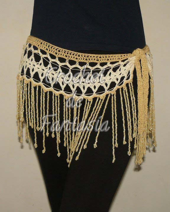Crochet, ganchillo, tejido, caderín, perlitas nacaradas, danza, árabe
