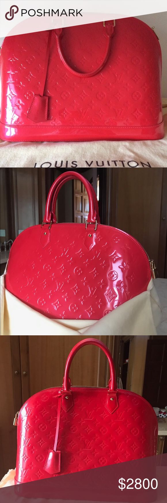 Louis Vuitton Alma Bag MM Rouge Grenadine Louis Vuitton Alma Bag in Rouge Grenadine. New! Never carried . Pristine Condition. Absolutely No Signs of wear. Comes with dust bag and original Receipt which is available upon request. Louis Vuitton Bags Satchels