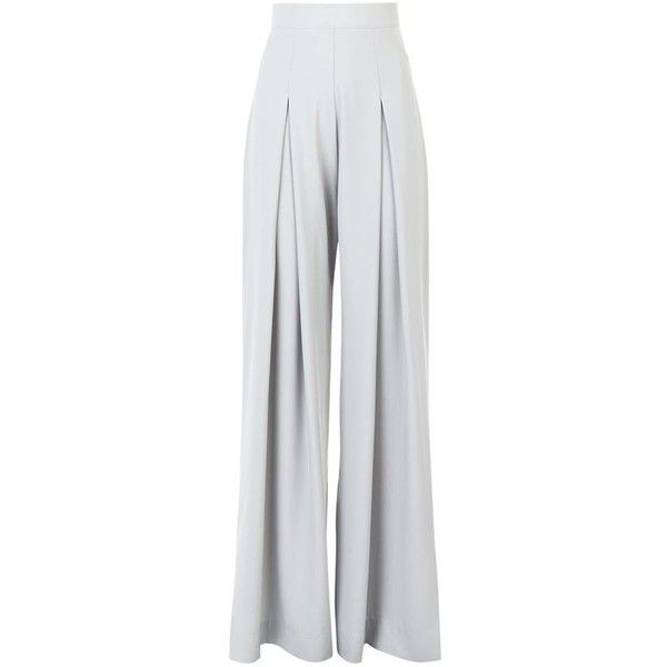 AQ/AQ Cian Pleated Palazzo Pants ($180) ❤ liked on Polyvore featuring pants, gray pants, wide leg trousers, high-waisted pants, high waisted trousers y palazzo pants