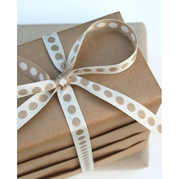 Complimentary Ribbon to Enhance Brown Kraft Paper... makes for a pretty wrap. | from Jane Means