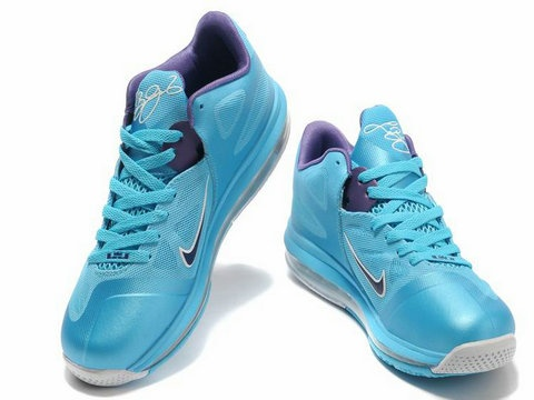 C 278 Nike LeBron 9 Low Summit Lake Hornets Turquoise Blue/Court Purple Sale