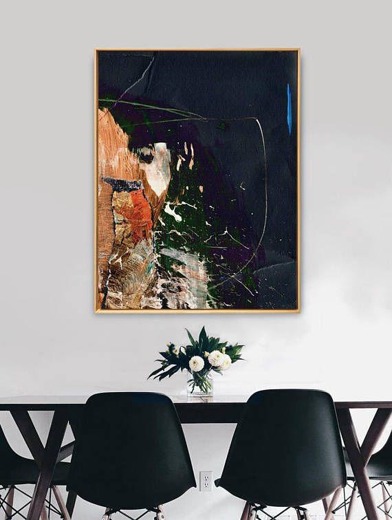 Large Abstract Minimalistic Painting Brunt Orange And Blue Etsy Large Art Prints Blue Artwork Abstract Large Abstract