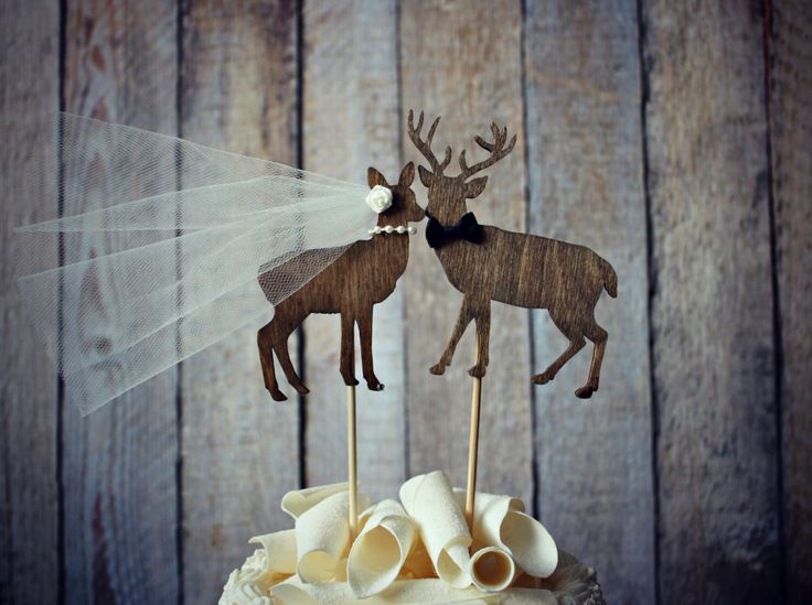 Buck and doe bride and groom-deer wedding cake topper-hunter wedding cake topper-hunting cake topper-deer wedding-rustic wedding by MorganTheCreator on Etsy https://www.etsy.com/listing/102928290/buck-and-doe-bride-and-groom-deer