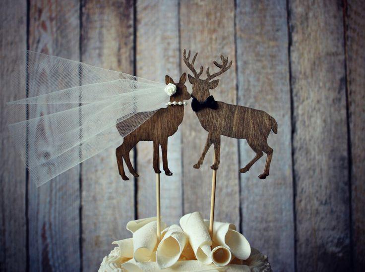 Buck and doe bride and groom-deer wedding cake topper-hunter wedding cake topper-hunting cake topper-deer wedding-rustic wedding by MorganTheCreator on Etsy https://www.etsy.com/listing/102928290/buck-and-doe-bride-and-groom-deer