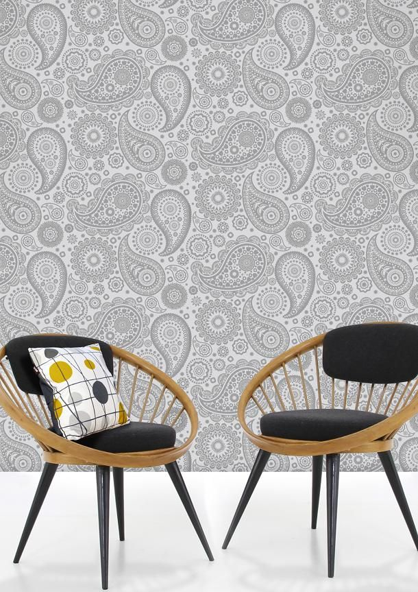 Chairs Or Wallpaper  Not Sure Which I Love The Most! Mini Moderns U0027Paisley  Crescentu0027 Wallpaper In Concrete Colour