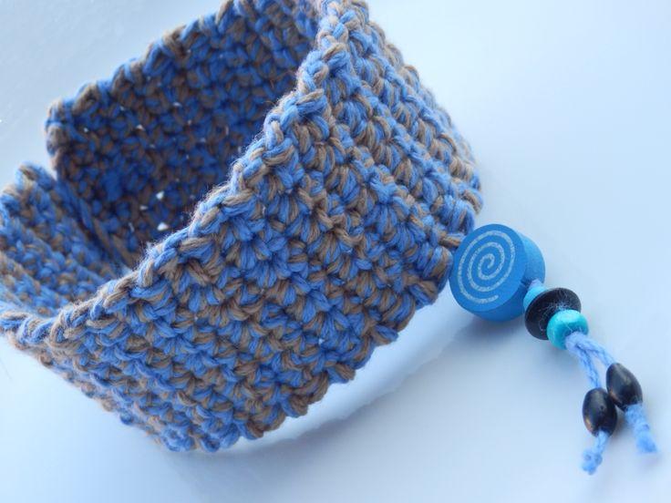 Obojek s korálky,modrý