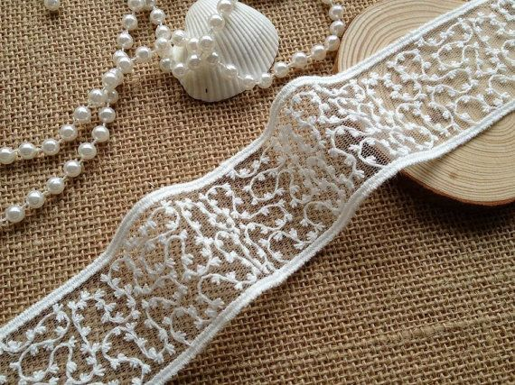 Off White Cotton Embroidery Tulle Lace Trim for Jewelry Supplies, Bridal Supplies, 2 Yards