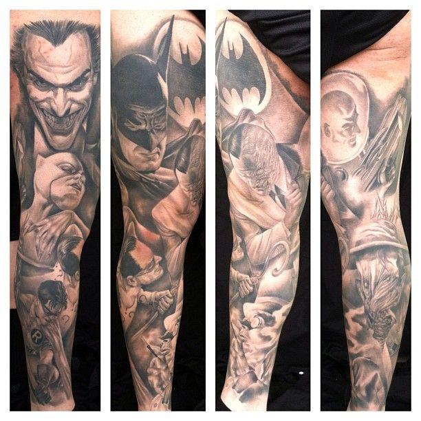 Amazing Batman leg sleeve tattoo by Carlos Rojas