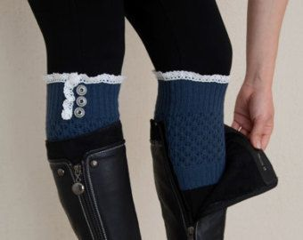 Dark gray knit lace boot cuffs with lace and buttons by bstyle