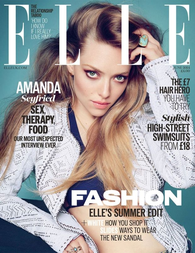 UK Elle June 2014 cover girl is Amanda Seyfried. And she looks GORGEOUS.