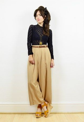 90s+pale+camel+high+waisted+cropped+trousers