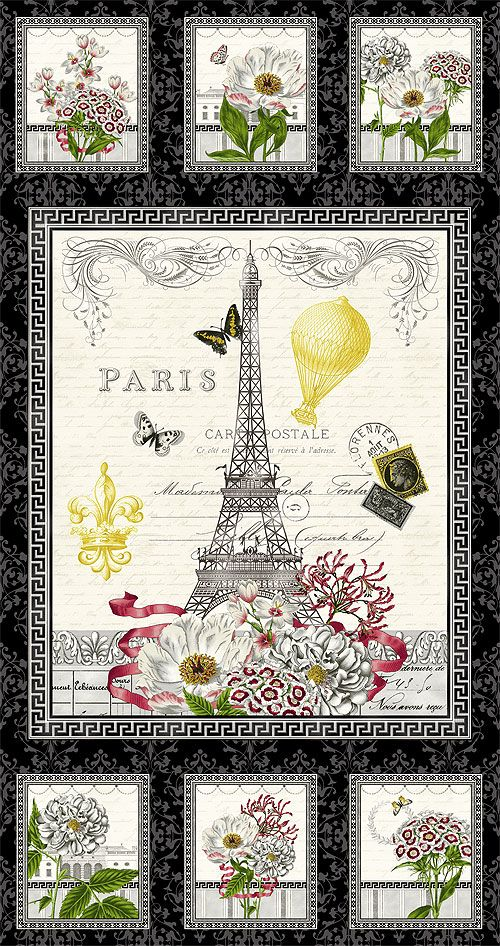"Salon Fleur - Eiffel Tower Gardens - 24"" x 44"" PANEL - Quilt Fabrics from www.eQuilter.com"