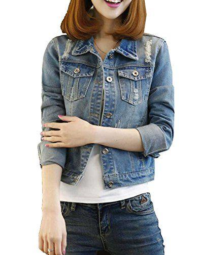 fc091c8768d jj-daidai Women Casual Plus Size Destroyed Holes Crop Denim Jacket ...