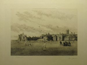 [Rossall School _ General View from the Cricket Field.] by William J.Allingham after Francis Philip Barraud
