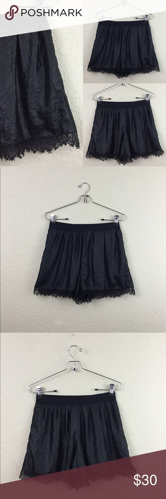 "Bcbgmaxazria lace shorts •Bcbgmaxazria   •lace hem shorts •no damages •size XS   •• total length 13"" stretch waistband BCBGMaxAzria Shorts"
