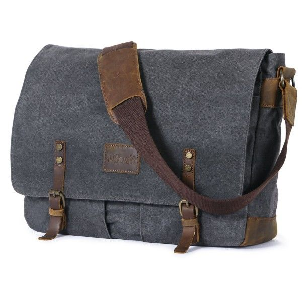 4cb5d47ac4e0 Lifewit Men Messenger Bag Waterproof Waxed Canvas Trim Leather Computer  Laptop Bag 15.6
