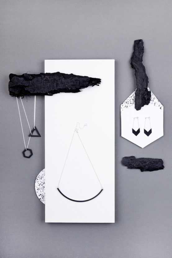 Charcoal Necklace 'Cosmic'.  Charcoal Necklace 'Sphere' Round. Charcoal Earring 'Solar'. The Charcoal Collection. www.theboyscouts.com